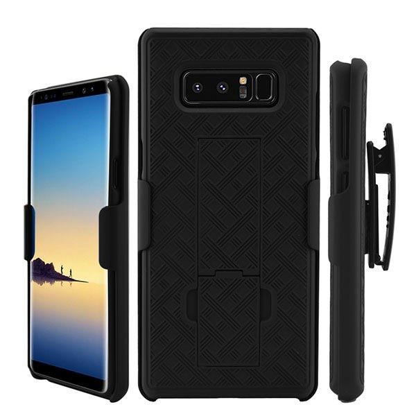 Wholeasle Samsung Note 8 Carbon Fiber Kickstand Case Holster Combo Black