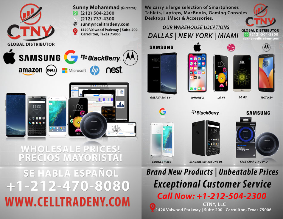 CTNY: Wholesale distributor of Cell phones, Tablets, MacBooks, Video games and more.